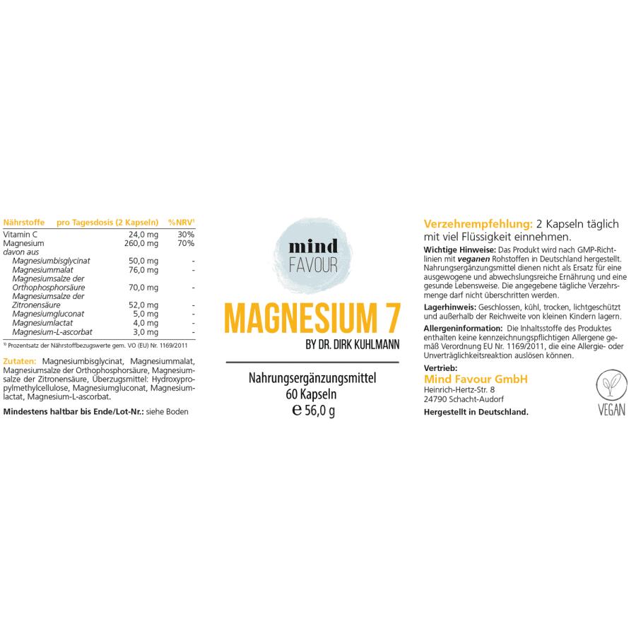 MIND FAVOUR Nahrungsergänzungsmittel Magnesium hohe Bioverfügbarkeit vegan Kapseln kaufen Etikett
