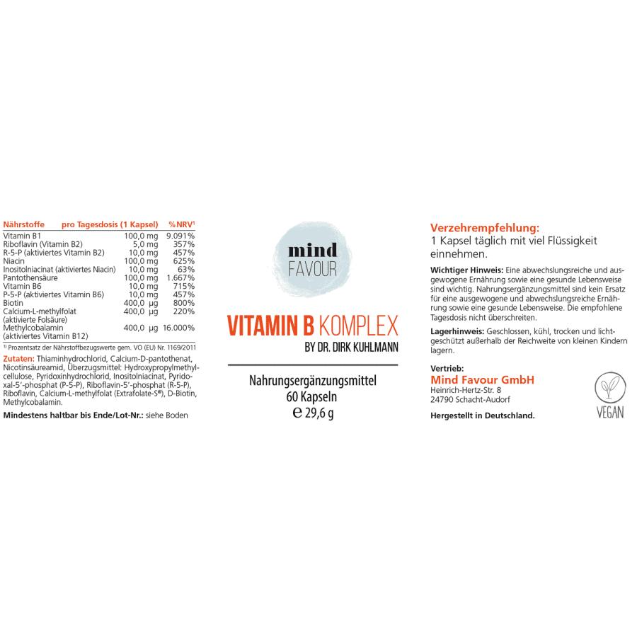 MIND FAVOUR Nahrungsergänzungsmittel Vitamin B Komplex B12 Methylcobalamin vegan Hohe Bioverfügbarkeit Etikett