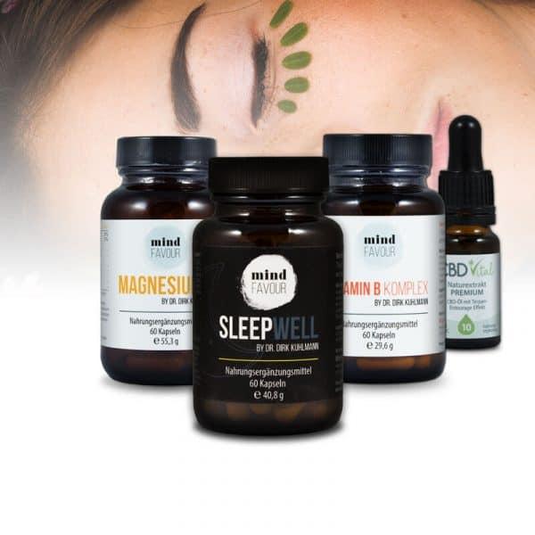 MIND FAVOUR Nahrungsergänzungsmittel guter Schlaf Kapseln kaufen CBD Hopfenblüten Griffonia natürlich vegan Vitamin B Komplex erholsam gesund Produkte